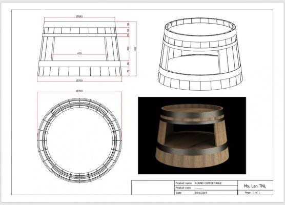 bản vẽ chi tiết quy chuẩn bàn thùng rượu gỗ