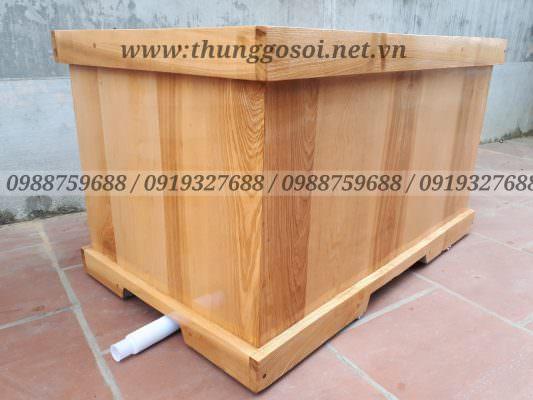 Bồn tắm gỗ sồi hình vuông góc