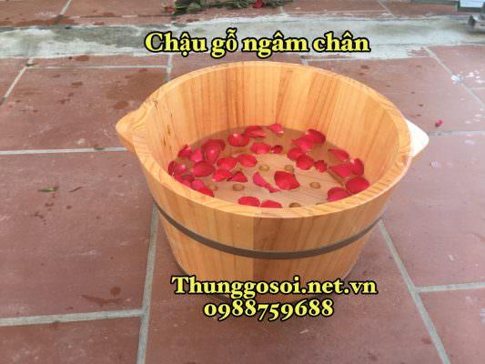 chậu gỗ ngâm thảo dược
