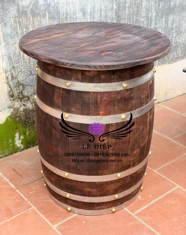 bàn thùng rượu thùng gỗ