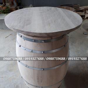 bàn thùng gỗ trang trí, thùng gỗ trưng bày