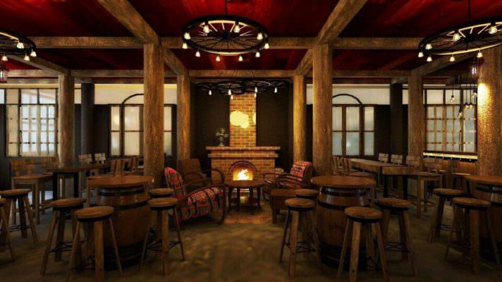 thùng gỗ trang trí cho quán bar, shop rượu