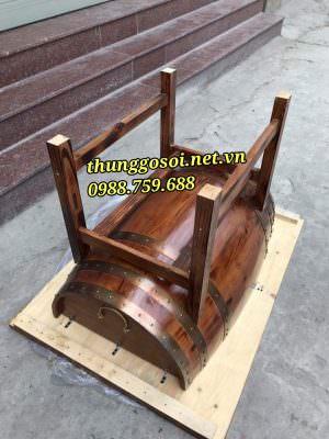 bàn thùng gỗ trang trí