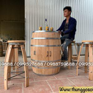 trống rượu gỗ cho cafe, bar, resort.
