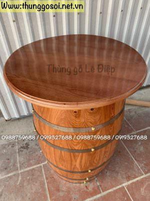 bàn thùng rượu có đk mặt 70cm x cao 90 cm
