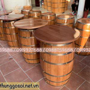 trống rượu gỗ quán bar được sx tại Thùng Gỗ Lê Điệp.