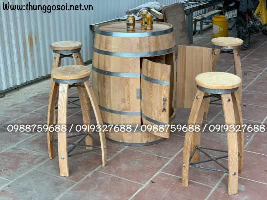 bàn ghế thùng rượu gỗ sồi để mộc