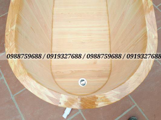 bồn bằng gỗ có van xả nhấn nhập khẩu có xi phong kéo dài 1m