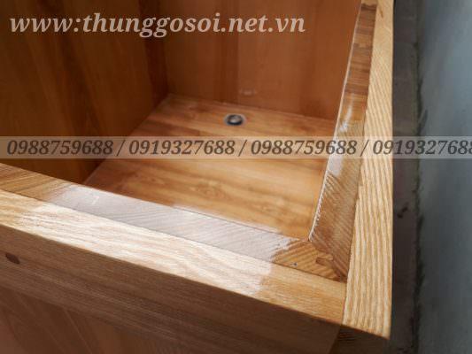 bồn tắm gỗ hình vuông ghép mộng âm dương