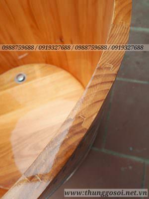 chi tiết đường ghép mộng âm dương 7 ly trước khi bo viền tạo sự chắc chắn và bền đẹp cho bồn gỗ
