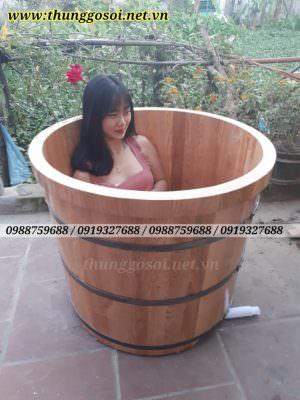bồn tắm gỗ sồi bo viền
