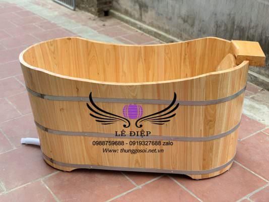 bồn tắm gỗ cao cấp dáng ovan
