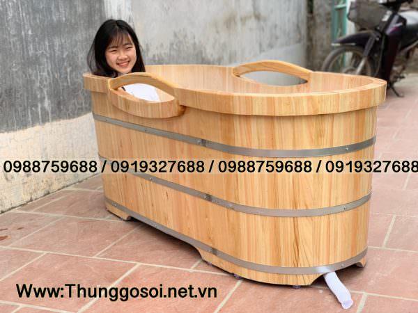 bồn tắm gỗ pơ mu cao cấp sx tại Thùng Gỗ Lê Điệp.