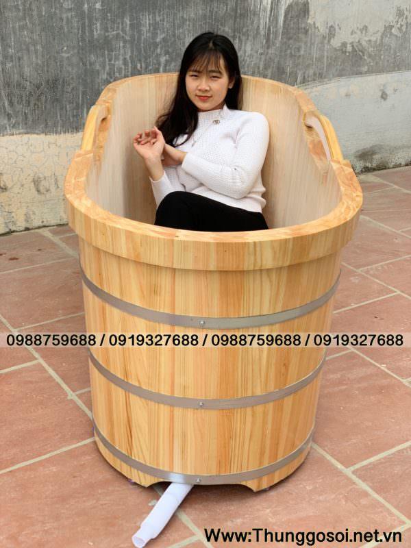bồn gỗ dài 1,6m có 2 tay nắm.
