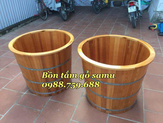 thùng tắm gỗ sa mu bo viền cao cấp