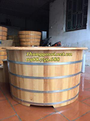 Bồn tắm gỗ sồi được nén 4 đai innox
