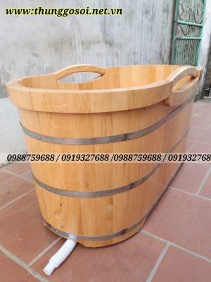 bồn tắm gỗ sồi bo viền cao cấp