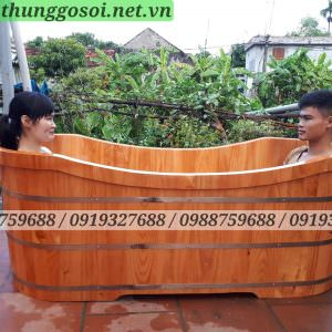 Bồn tắm gỗ đôi dài 180cm