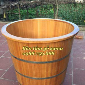 bồn tắm gỗ samu dáng đứng bo viền