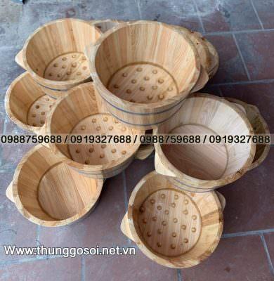 thùng ngâm chân gỗ pơ mu
