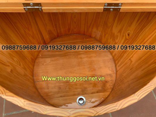 thùng gỗ xông hơi có nắp giữ nhiệt