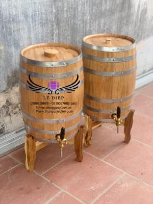 thùng ngâm rượu gỗ sồi dáng đứng