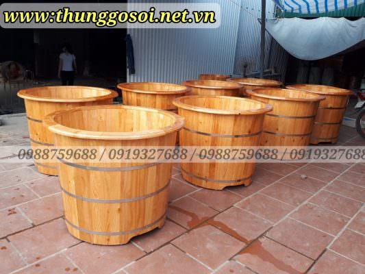 thùng tắm bằng gỗ thông