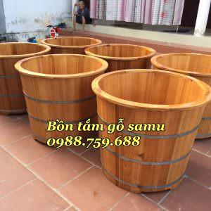 bồn tắm gỗ samu