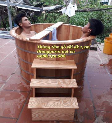 thùng tắm gỗ sồi resort