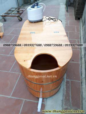 thùng tắm gỗ 2 chức năng vừa tắm vừa xông hơi