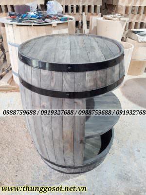 thùng rượu gỗ trang trí, bàn thùng rượu