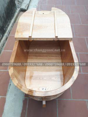 thùng gỗ xông hơi gỗ sồi bo viền 2 lớp, ghép mộng âm dương chắc chắn