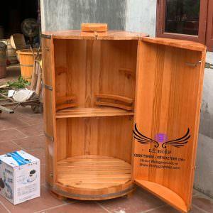 thùng xông hơi gỗ thông