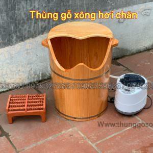 thùng xông hơi chân bằng gỗ