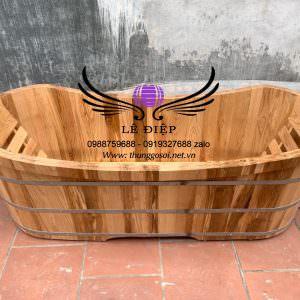 thùng tắm đôi gỗ sồi