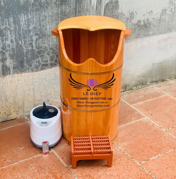 thùng gỗ xông hơi chân