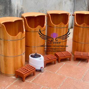 thùng xông chân gỗ