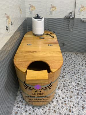 bàn giao bồn tắm gỗ xông hơi