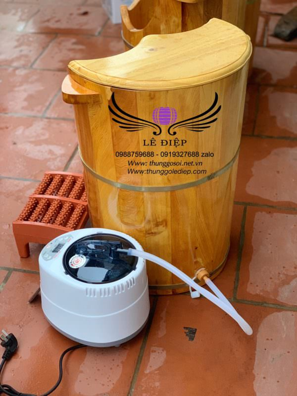 máy xông chân kèm thùng gỗ