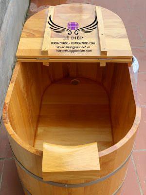 bồn tắm xông hơi kèm gối đầu bằng gỗ