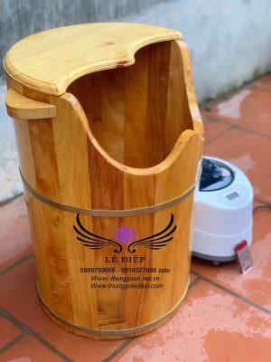 thùng xông hơi chân gỗ pơ mu