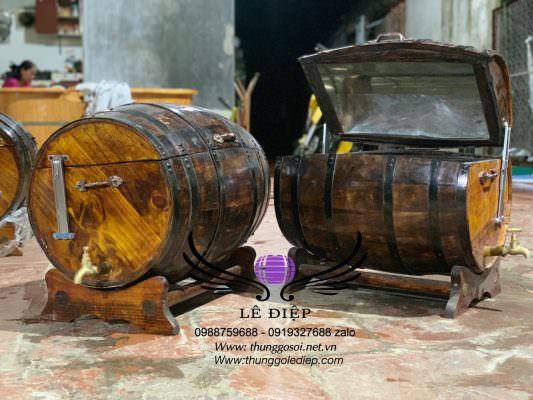 ướp lạnh rượu bia trong thùng gỗ