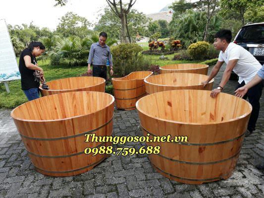 bồn tắm gỗ resort