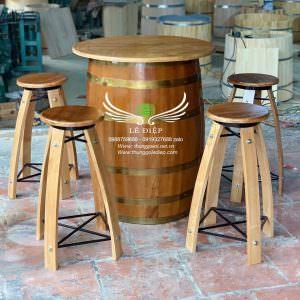 bàn thùng rượu gỗ sồi