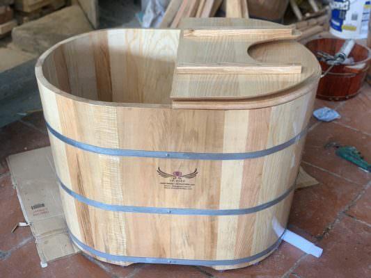 bồn gỗ sồi xông hơi mini