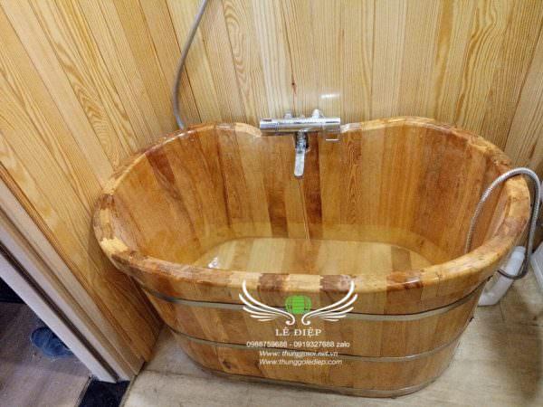 bồn tắm gỗ pơ mu mini