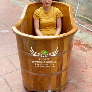bồn tắm gỗ ovan