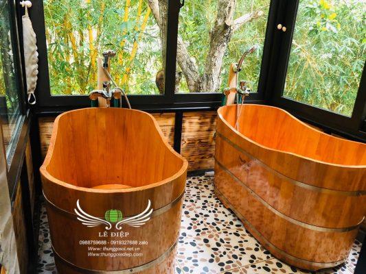bồn tắm gỗ cho resort cao cấp