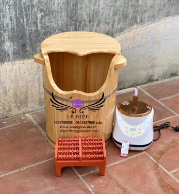 thùng xông chân gỗ pơ mu