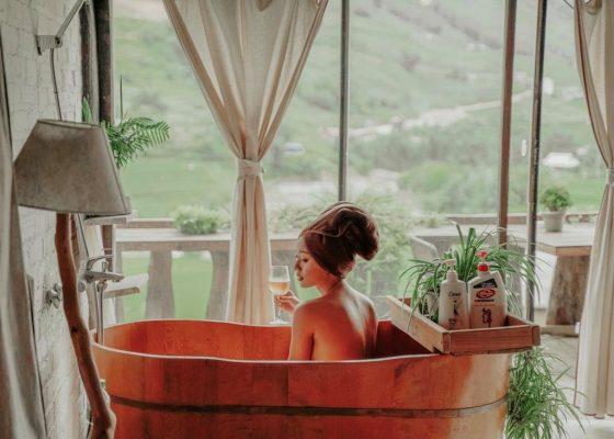bán bồn tắm gỗ resort